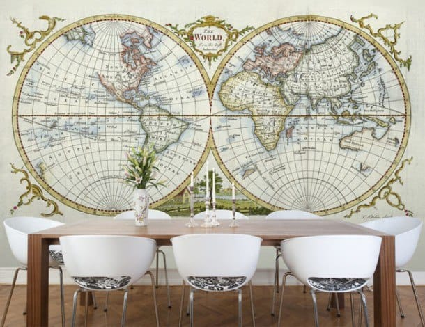 Карта во всю стену: стильно и необычно
