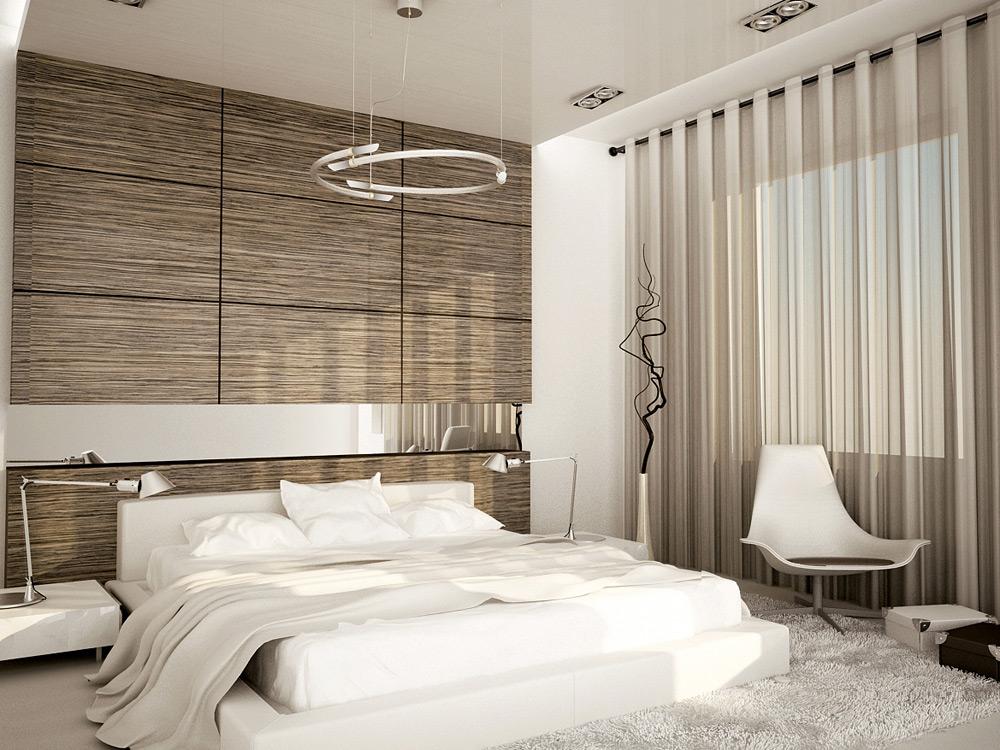 белая кровать и деревянная стена