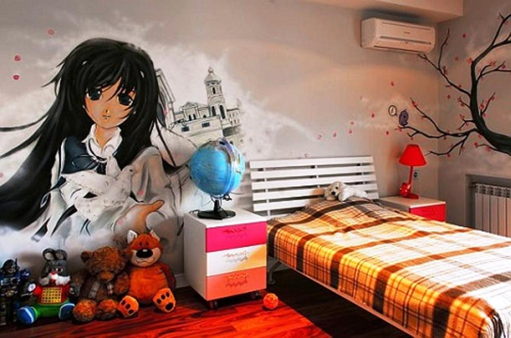 спальня с глобусом