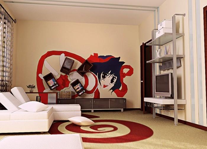 гостиная с аниме персонажем