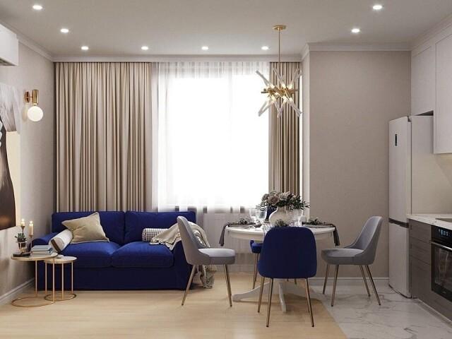 диван и синий стул
