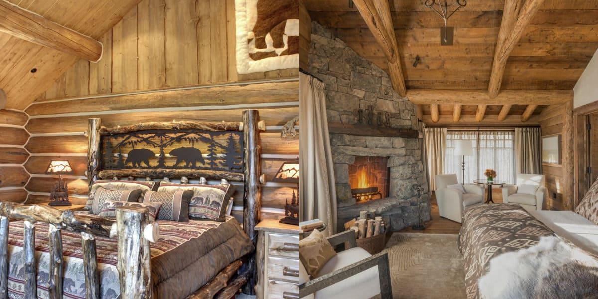камин и деревянные стены