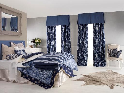 сине-белые шторы