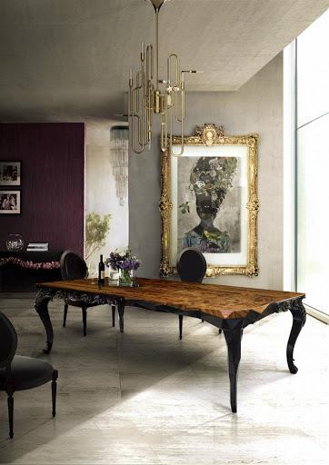стол с деревянной столешницей и изогнутыми ножками
