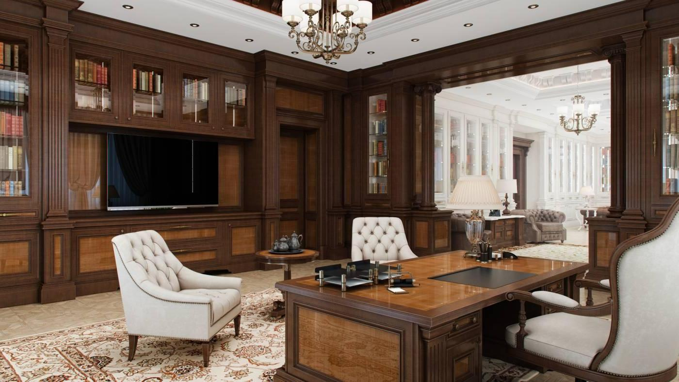 кабинет с большим телевизором