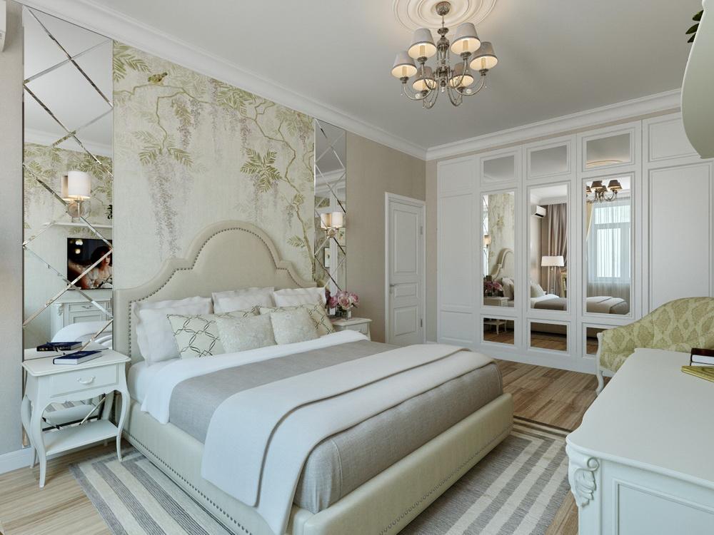 белый шкаф с зеркалами