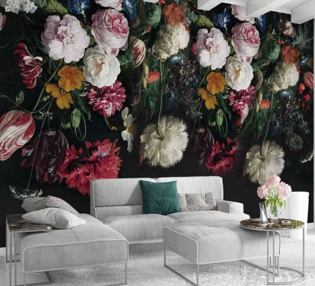 черные обои с яркими цветами