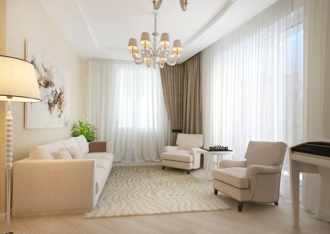 диван и кресла светлых тонов