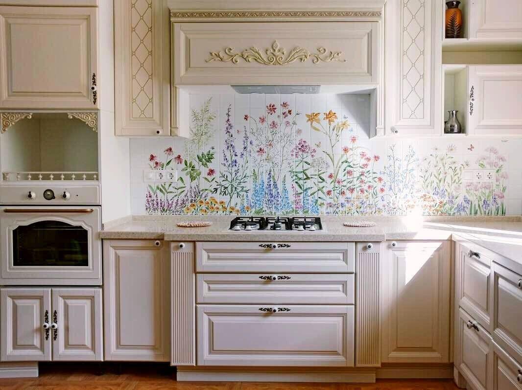 кухонный фартук с цветами